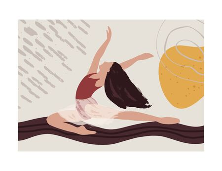 Ballet dancer girl poster. Ballerina jump card. Abstract vector illustration. Flat and Hand drawn brush ink textured art. Çizim