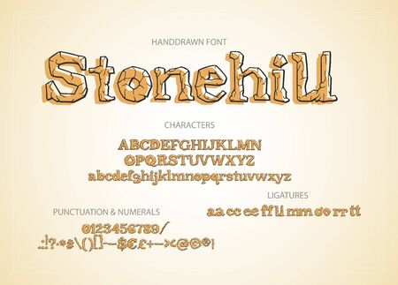 Hand drawn vintage vector alphabet ABC font with letters, numbers, symbols. For calligraphy, lettering, hand made quotes. Letters with stone texture.