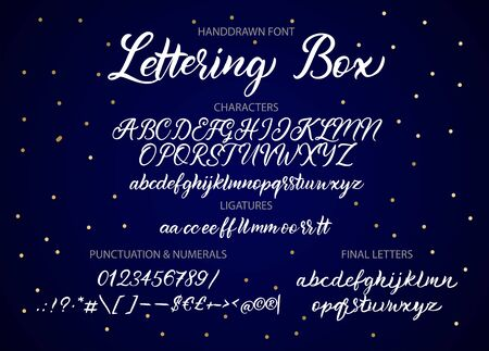 Cute hand drawn vector alphabet ABC font with letters, ligatures, numbers, symbols. For calligraphy, lettering, hand made quotes.