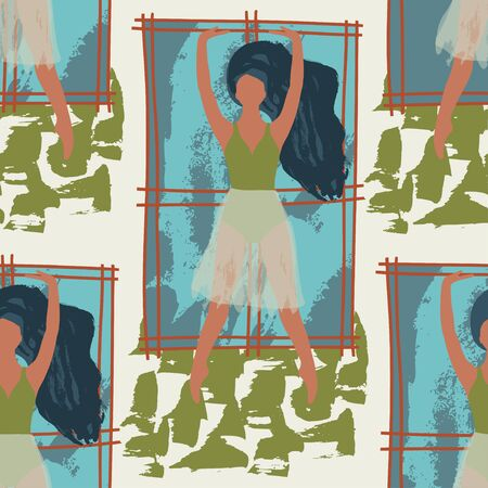 Ballet dancer girl near the window seamless pattern. Abstract vector illustration. Flat and Hand drawn brush ink textured art. Vectores