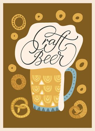 Beer festival vector ornate illustration. Oktoberfest detailed card with gingerbreads and lettering quote in a flat style - craft beer.