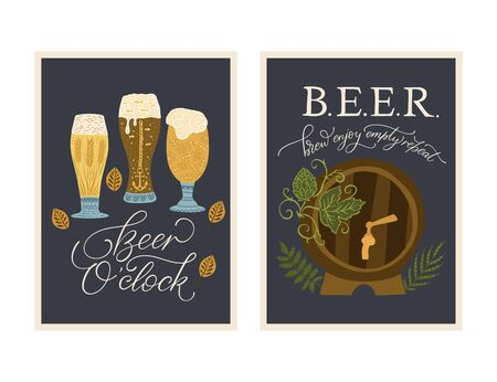 Beer festival vector ornate illustration. Oktoberfest detailed card with lettering quote. Poster collection. Beer oclock. Brew, enjoy, empty, repeat.