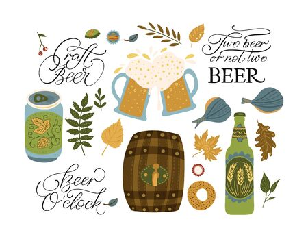 Beer festival vector illustrations with lettering quotes. Oktoberfest icon collections with barrel, beer glass, gingerbread. Иллюстрация