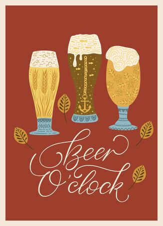 Beer festival vector ornate illustration. Oktoberfest detailed card with lettering quote in a flat style - beer o clock. Иллюстрация