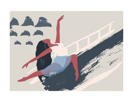 Ballet dancer girl poster. Ballerina card. Abstract vector illustration. Flat and Hand drawn brush ink textured art.