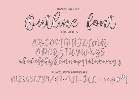 Tipografía del alfabeto vectorial. Tipografía de caligrafía moderna dibujada a mano. Ilustración de vector