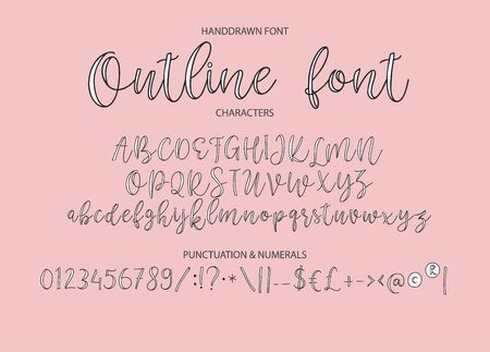 Vector alphabet typeface. Hand drawn modern calligraphy typeface. Ilustración de vector