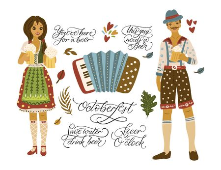 Beer festival vector illustrations with lettering quotes. Oktoberfest icon collections accordion and happy people - girl and boy. Иллюстрация