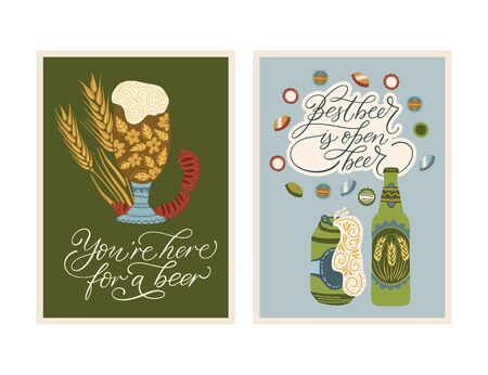 Festival vector ornate illustration. Oktoberfest detailed card with lettering quote. You are here for a beer. Best beer is open beer.