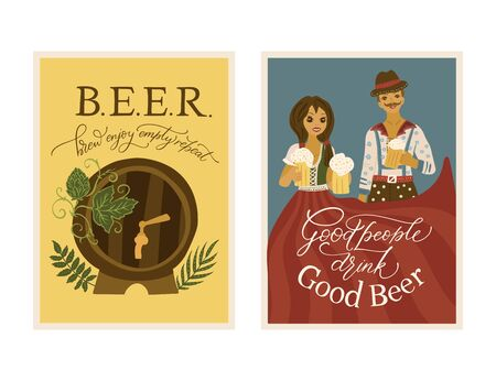 Beer festival vector ornate illustration. Oktoberfest detailed card set with lettering quote. Poster collection with beer barrel, hop and happy people.