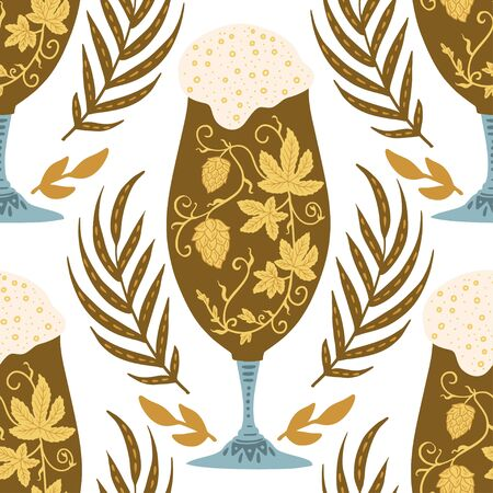 Beer festival vector seamless pattern. Oktoberfest colour illustration with ornate dark beer glass and wheel spikelets.