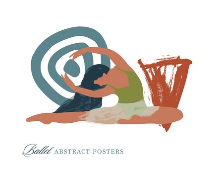 Abstract vector illustration. Flat and Hand drawn brush ink textured art.