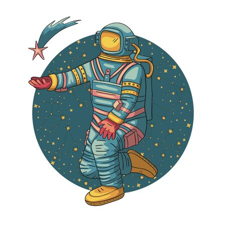 Astronaut, vector illustration. Comonaut round card for print and web. Template with comic sign with a spaseman and constellations. Traveler in vacuum with a falling star.