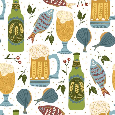 Beer festival vector seamless pattern. Oktoberfest colour ornate illustration with beer bottles, glasses and fish snack. Иллюстрация