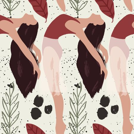 Ballet dancer girl pose seamless pattern. Abstract vector illustration. Flat and Hand drawn brush ink textured art.