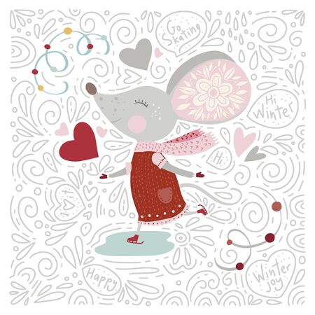 Christmas funny cartoon hand drawn mouse card in a flat and doodle style and text quotes. Winter vector poster with cute New Year mice.