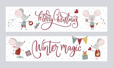 Christmas funny cartoon mouse poster set in a flat style. Иллюстрация