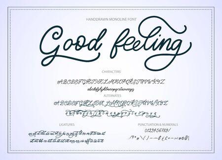 Hand drawn calligraphic  monoline font. Ilustração