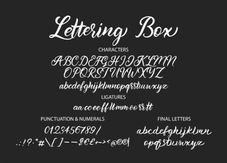 Cute hand drawn  alphabet ABC font with letters, numbers, symbols.