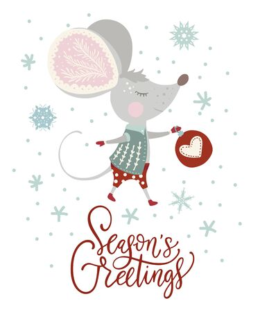 Christmas funny cartoon mouse in a flat style with hand drawn lettering quote Иллюстрация