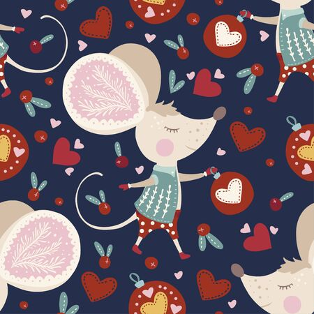 Seamless  pattern with cute cartoon mouse in Scandinavian style. Иллюстрация