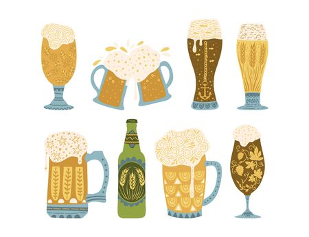 Oktoberfest clip art ornate colour collection in a flat style. Beer glasses and bottle.