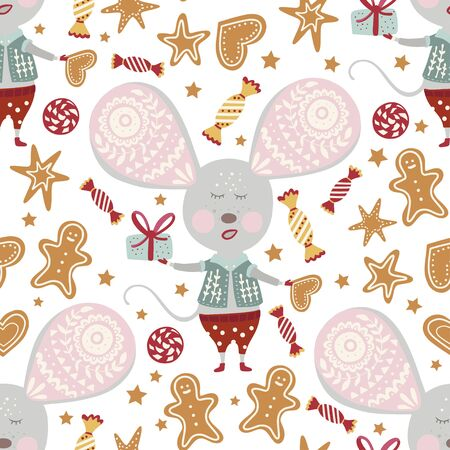 Seamless  pattern with cute cartoon mouse with candy and gingerbread in scandinavian style. Иллюстрация