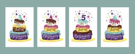 Children Birthday Anniversary  set with color cartoon cake and hand drawn lettering quote - it is just the beginning.