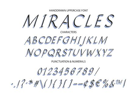 Hand drawn  italics uppercase alphabet font with letters, numbers, symbols.