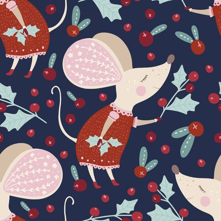Seamless  pattern with cute cartoon mouse with holly berry in Scandinavian style.