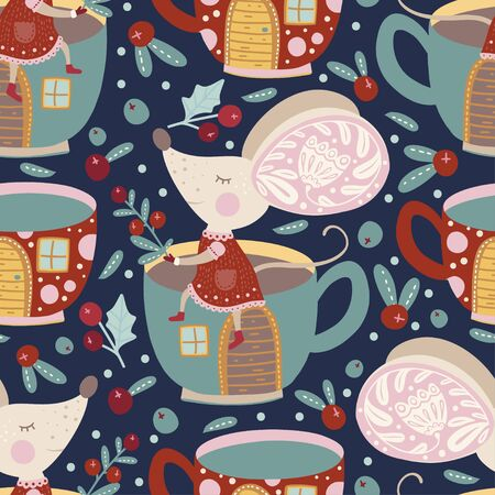 Seamless vector pattern with cute cartoon dreaming mouse with cup house in scandinavian style. Stok Fotoğraf - 130809954