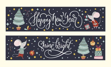 Christmas funny cartoon mouse poster set in a flat style. Çizim