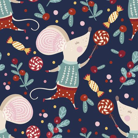 Seamless  pattern with cute cartoon mouse in scandinavian style.