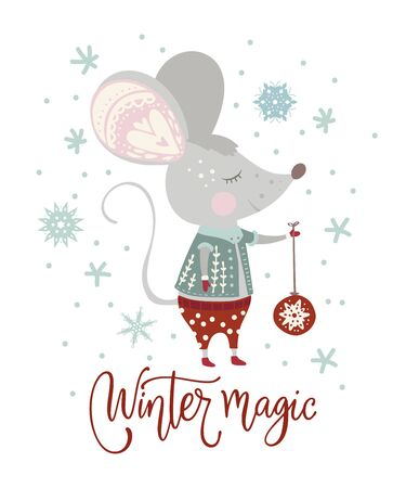 Christmas funny cartoon mouse in a flat style with hand drawn lettering quote - winter magic.