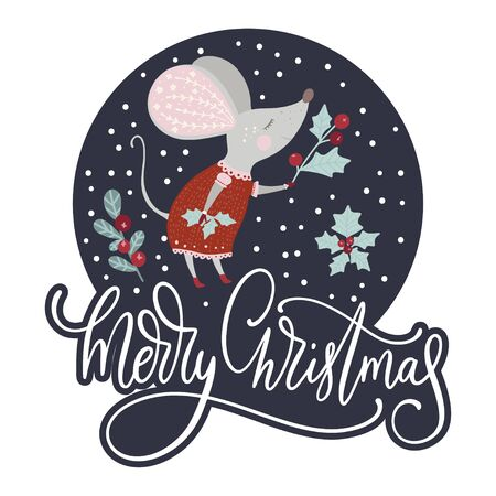 Chirstmas funny cartoon girl mouse in a flat style and holly berry with lettering quote - Merry Christmas. Çizim