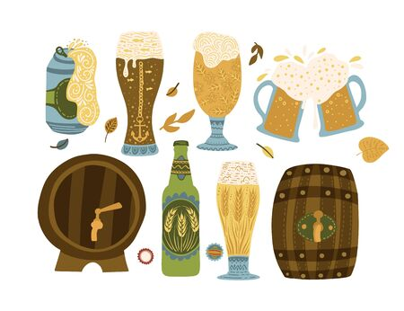 Oktoberfest clip art ornate colour collection in a flat style. Beer glasses, barrel and bottle.