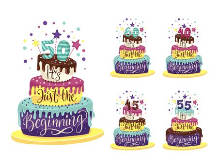 Adult 45th, 50th, 55th 40th, 60th Birthday Anniversary  set with color cartoon cake and hand drawn lettering quote - it is just the beginning.