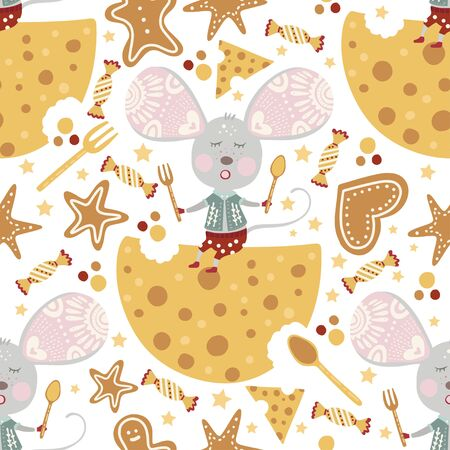 Seamless  pattern with cute cartoon mouse with cheese in scandinavian style.