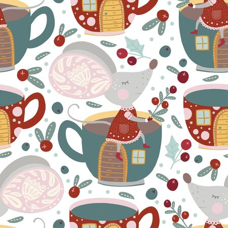 Seamless vector pattern with cute cartoon mouse with cup house in scandinavian style.