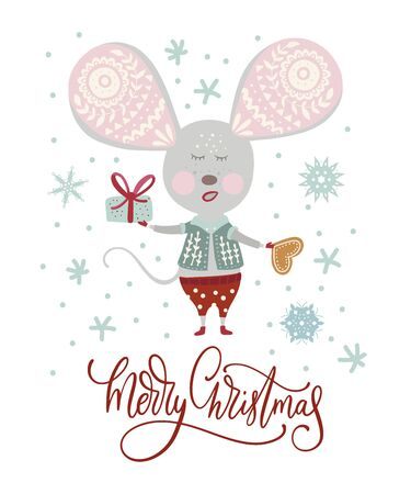Christmas funny cartoon mouse in a flat style with hand drawn lettering quote - merry Christmas. Иллюстрация