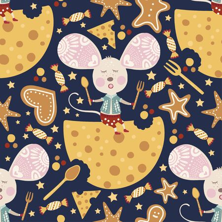 Seamless  pattern with cute dreaming cartoon mouse with cheese in scandinavian style. Иллюстрация