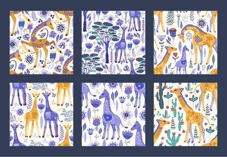 Seamless patten  set with cute hand drawn ornate giraffes in Scandinavian style. Çizim