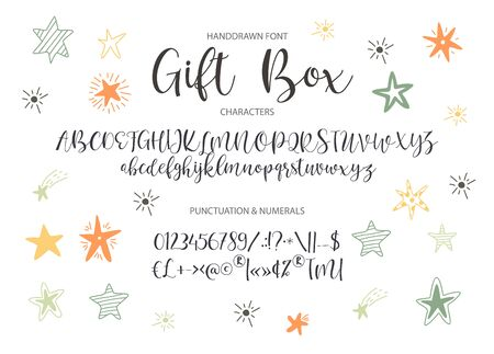 Vector alphabet typeface. Cute typographic script letter set for logo, branding and lettering quotes.