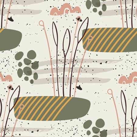 Floral seamless pattern. Abstract botanical simple leaves and shapes. Çizim