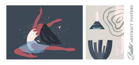 Ballet dancer girl interior poster set. Ballerina illustration. Abstract vector collection. Flat and Hand drawn brush ink textured art.