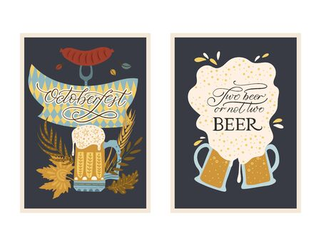 Beer festival vector ornate card set. Poster collection with ornate illustrations. Oktoberfest detailed colored card with lettering quote. Two beer or not two beer.