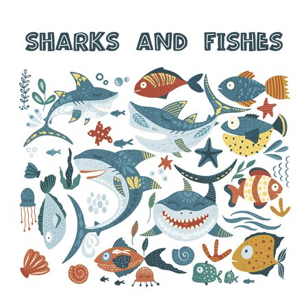 Cartoon Vector Shark Illustration. Shark, shell, starfish and fish sea animal icon set. Isolated marine character collection. Perfect for print and web.