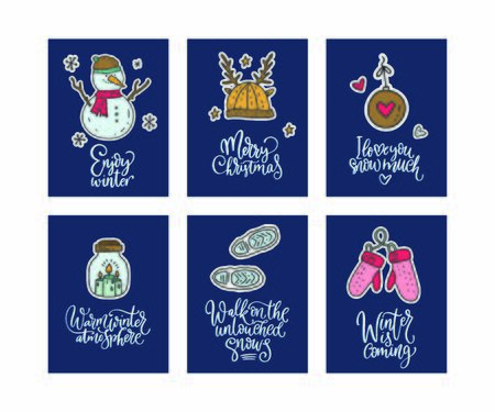 Winter and Christmas vector card set. Calligraphy lettering greeting text and cartoon doodle holiday illustrations. Happy New year poster collection. Enjoy winter, Merry Christmas, I love you snow much.