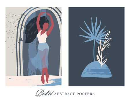 Ballet dancer girl and tropical nature poster set. Ballerina illustration. Abstract vector collection. Flat and Hand drawn brush ink textured art.