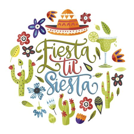 Cinco de mayo vector flat round cartoon card. Ornate festive Mexican floral illustration with sombrero hat and lettering text quote - Fiesta til Siesta. Illusztráció
